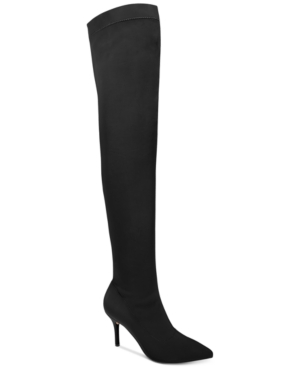 INC International Concepts Zaliaa Pointed Toe Over The Knee Boots Created For Macy's Women's Shoes Black qmCR5sEN