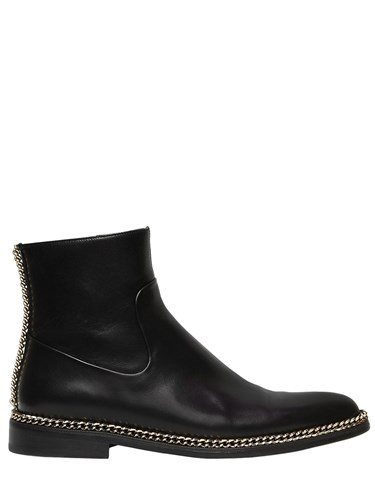 Lanvin 20Mm Chained Leather Ankle Boots gCvehbk