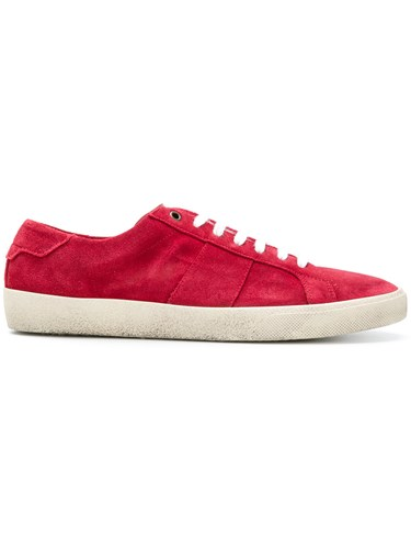 Saint Laurent Lace Up Sneakers Leather Polyester Polyurethane Rubber Red TStaeL