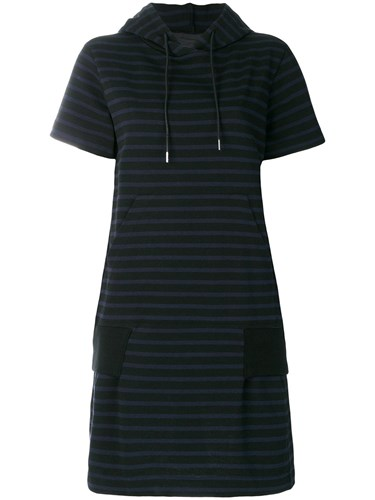 Sacai Striped Hoodie Dress Blue qmKArB9J