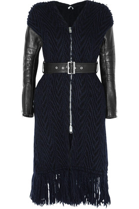 Luck Leather Paneled Cable Knit Wool Coat Black