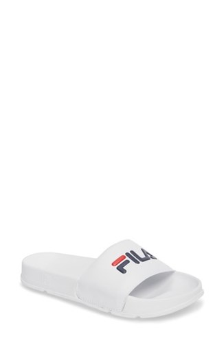 Sandal White Women's Fila Red Slide Navy Logo Iq6ww4xAt