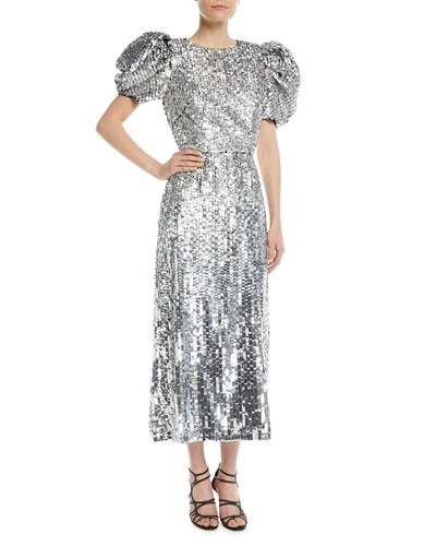 Fitted Carolina Herrera Paillette Evening Silver Embellished Short Gown Sleeves Puff rYwArqH