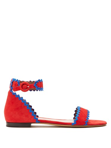 Tabitha Simmons Leon Ric Rac Trimmed Suede Sandals Red Multi RKlW3jD