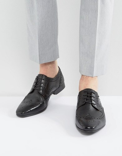 WALK LONDON City Leather Brogue Shoes Black sCQRC