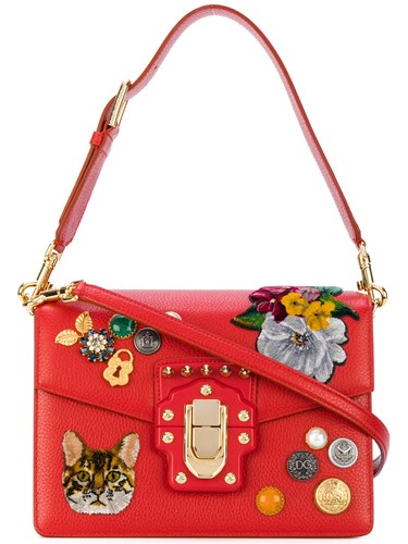 Dolce & Gabbana Lucia Patch Shoulder Bag Women Calf Leather Brass Velvet Glass One Size Red vkiWiIz
