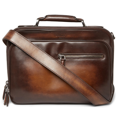 Gloria Polished Leather Briefcase Brown