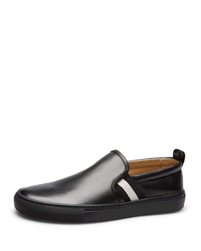 Bally Herald Leather Slip On Sneaker Black PGafZ