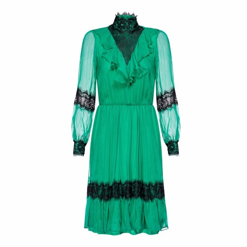 Nissa Silk Green Dress With Lace Insertions rKsVelx