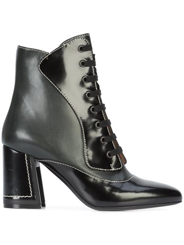 Marni Lace Up Ankle Boots Leather Black bx55HDy7