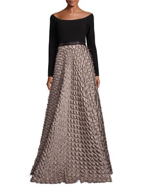 Carmen Marc Valvo Off The Shoulder Ball Gown Black Gold BL3DJ9AsSm