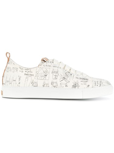 Closed Printed Lace Up Sneakers White WZMMg