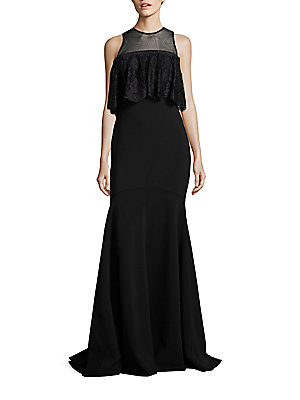 Theia Ruffled Lace Trumpet Gown Black IWG26EA