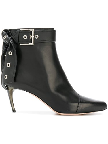 Alexander McQueen Eyelet Bow Boots Leather Black QdGO4