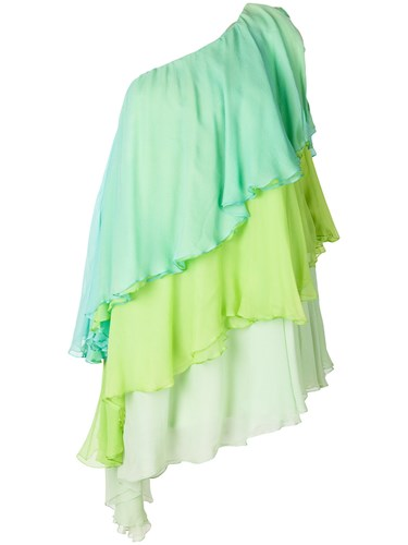 William Vintage Haute Couture One Shoulder Dress Green 7gdacK