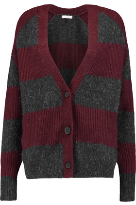 Sharon Striped Knitted Cardigan Burgundy
