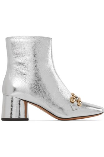 Marc Jacobs Remi Chain Trimmed Metallic Leather Ankle Boots Silver Xw0uL8
