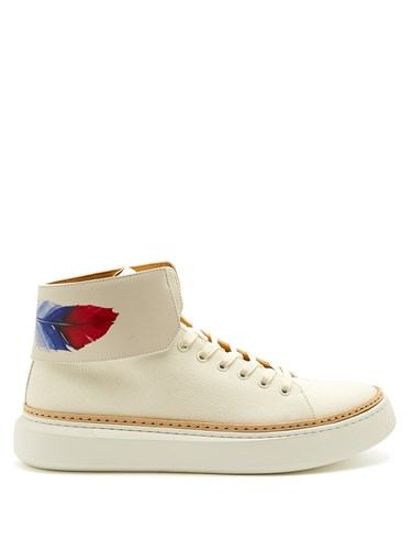 Buscemi 90Mm Crepone High Top Leather Trainers White Ub8BQWlc5