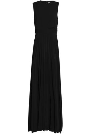 Lace Dress Paneled Pleated Maxi C Black Crepe A L gwqapp