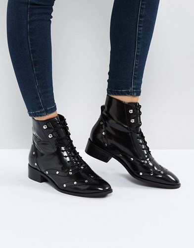 Asos Axis Leather Lace Up Flat Boots Black czLiK9jn