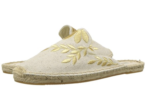 Soludos Embroidered Floral Mule Sand Metallic Clog Mule Shoes Beige Yvom4Ji