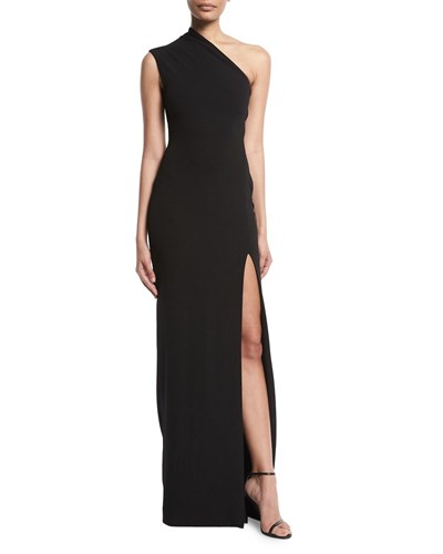 Solace London Averie One Shoulder Side Slit Maxi Dress Black jgV5DFUs2n