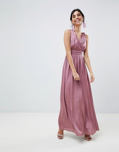 639294ae Little Mistress Satin Maxi Dress With Open Back Pink | Nuji