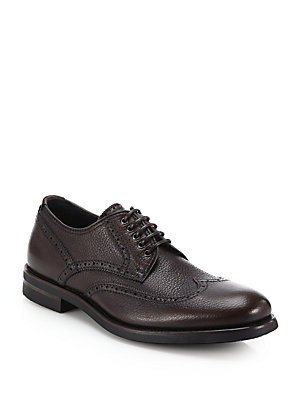 Aquatalia by Marvin K Carson Pebbled Leather Derby Shoes Brown tSyuZqS