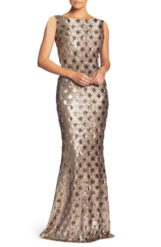 Dress the Population Yvette Sequin Trumpet Gown Brass DS9AT5l2