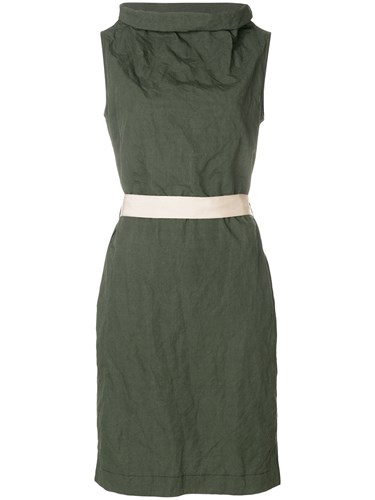 Antonelli Funnel Cowl Neck Fitted Dress Green PPTlpF