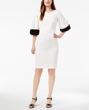 Calvin Klein Colorblocked Puff Sleeve Sheath Dress White Black OPJWmEq