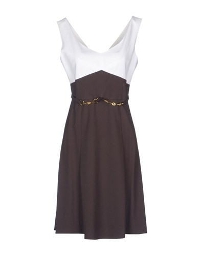 Via Delle Perle Vdp Collection Short Dresses Dark Brown FobDq
