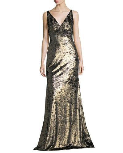 Theia Sleeveless Wide V Neck Metallic Evening Gown W Embellishments Burnished Gold eLNcb