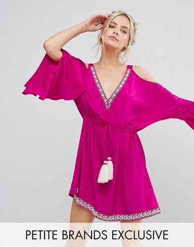 White Cove Petite Embellished Cold Shoulder Dress With Peplum Hem Detail Hot Pink w71J5l