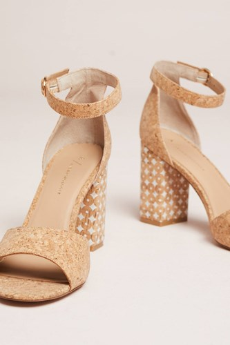 Anthropologie Printed Cork Heeled Sandals Neutral XA0z9L0oi8