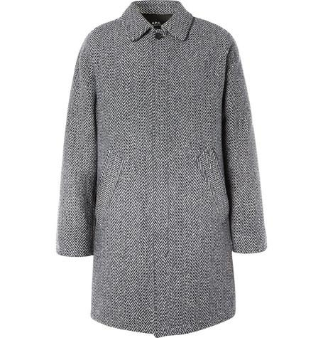 Ivan Herringbone Wool Blend Coat Gray