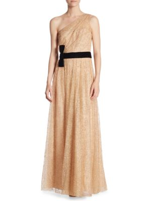 Marchesa One Shoulder Bow Tie Gown Champagne B3oE0nSv6
