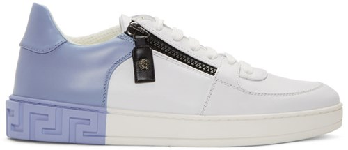 Versace White And Blue Greek Sneakers aard8