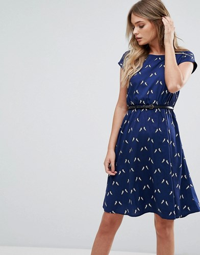 Yumi Belted Skater Dress In Unicorn Print Navy Gn0UIn