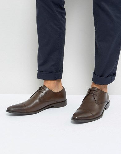 Frank Wright Toe Cap Derby Shoes In Brown Leather Brown HTdeuvc