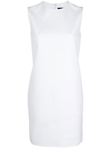 Elastane Dress Sleeveless Spandex Dsquared2 DSquared White Shift Cotton gUYwqz