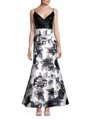 Jump Embellished Lace And Floral Gown Black White k1psW0Hs