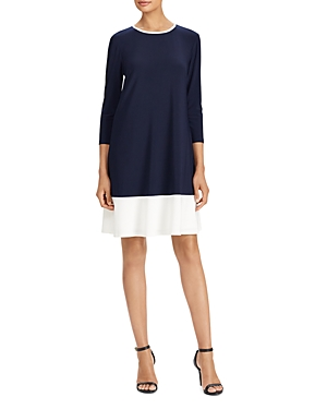 Ralph Lauren Two Tone Jersey Dress Navy White pzYdou