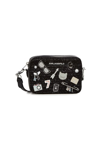 Karl Lagerfeld K Klassik Camera Bag With Leather Black emyK1pXP