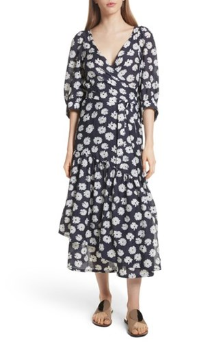Apiece Apart Bougainvillea Wrap Dress Cypress Print ipOaeCw2t