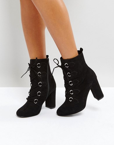 Faith Bria D Ring Lace Up Boots Black 3MBag0ZSKa