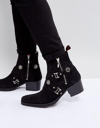 Jeffery West Manero Buckle Boots In Black Suede Black KVJ1JT