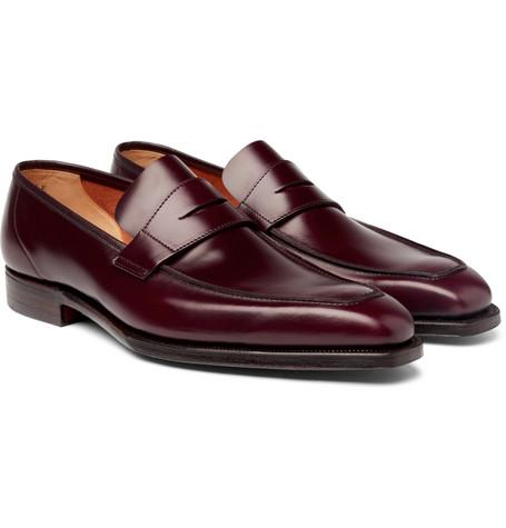 George Cleverley Leather Penny Loafers Burgundy Y4Qwya
