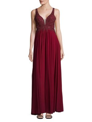 Betsy & Adam Embellished Plunge Empire Gown Wine NNZVr