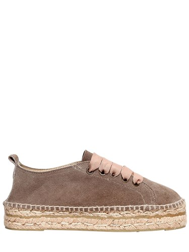 MANEBÌ 30Mm Suede Lace Up Espadrilles Taupe ekFhvIa